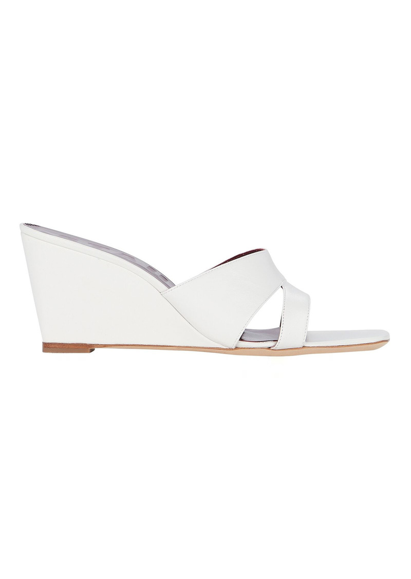 STAUD Bree Leather Wedge Slide Sandals