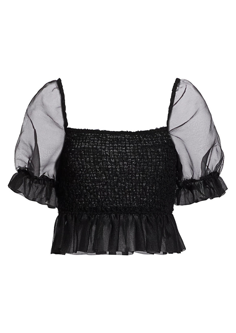 STAUD Cannon Puff-Sleeve Cropped Top