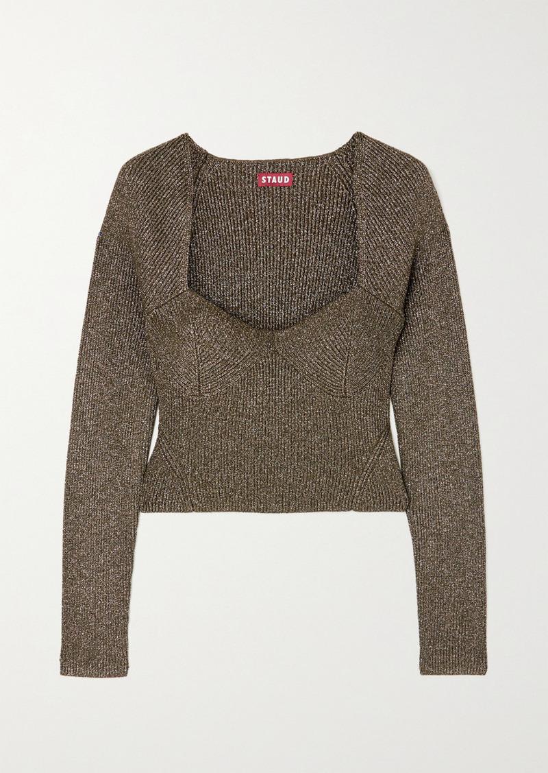 STAUD Cerro Metallic Ribbed-knit Top