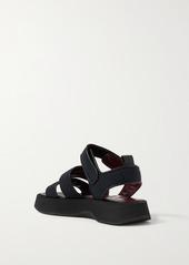 STAUD Crew Leather-trimmed Neoprene Platform Sandals