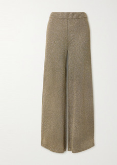 STAUD Daisy Metallic Stretch-knit Wide-leg Pants