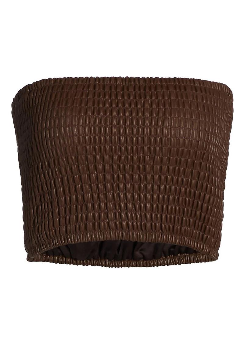 STAUD Davis Faux Leather Smocked Tube Top