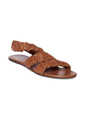 STAUD Ellie Ruched Leather Slingback Sandals