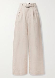 STAUD Eris Belted Linen Wide-leg Pants