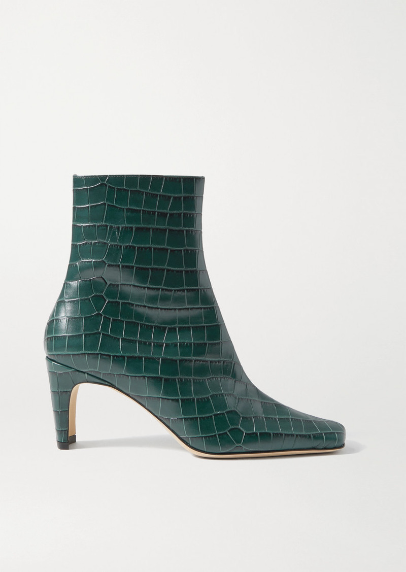 STAUD Eva Croc-effect Leather Ankle Boots