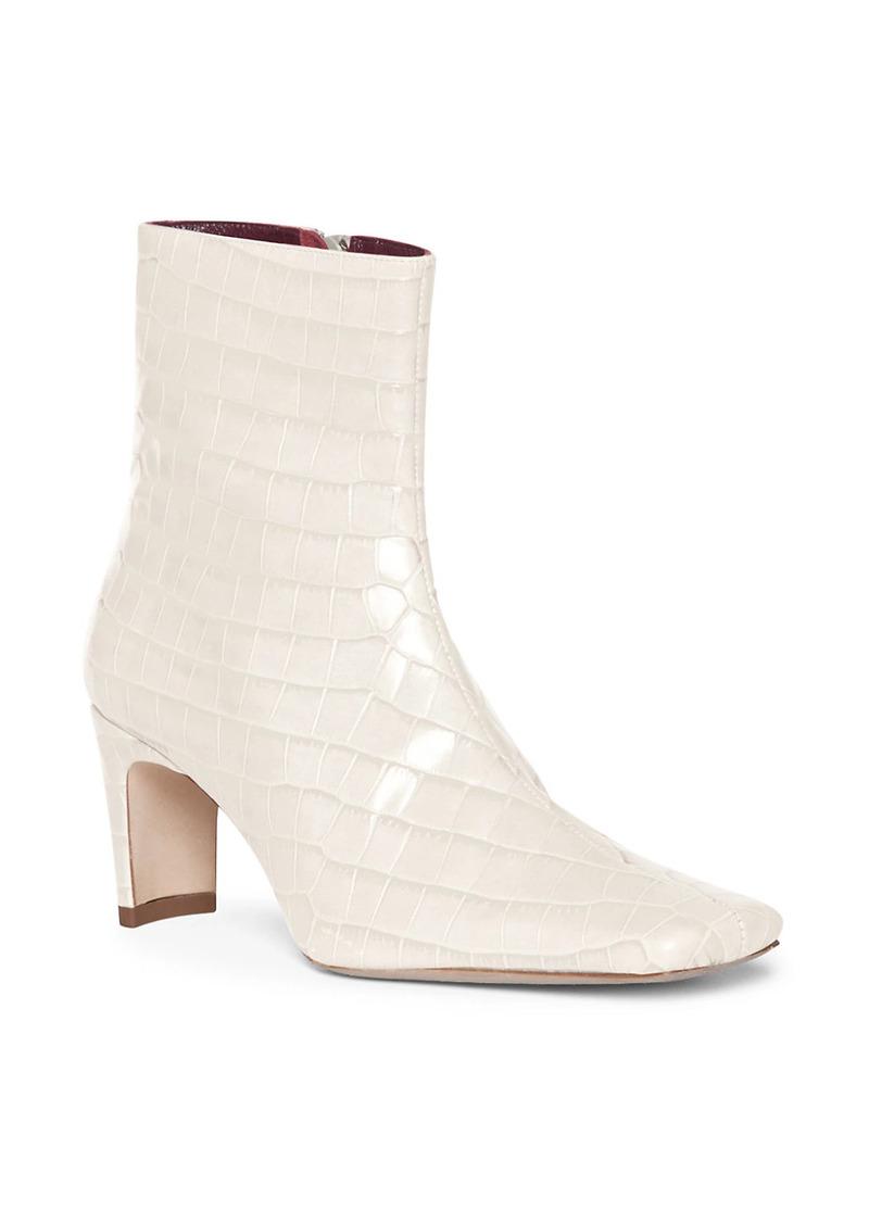 STAUD Eva Square-Toe Croc-Embossed Leather Ankle Boots