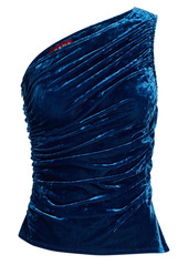 STAUD Eze One-Shoulder Velvet Top