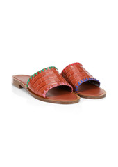 STAUD Genie Mismatched Croc-Embossed Leather Slides