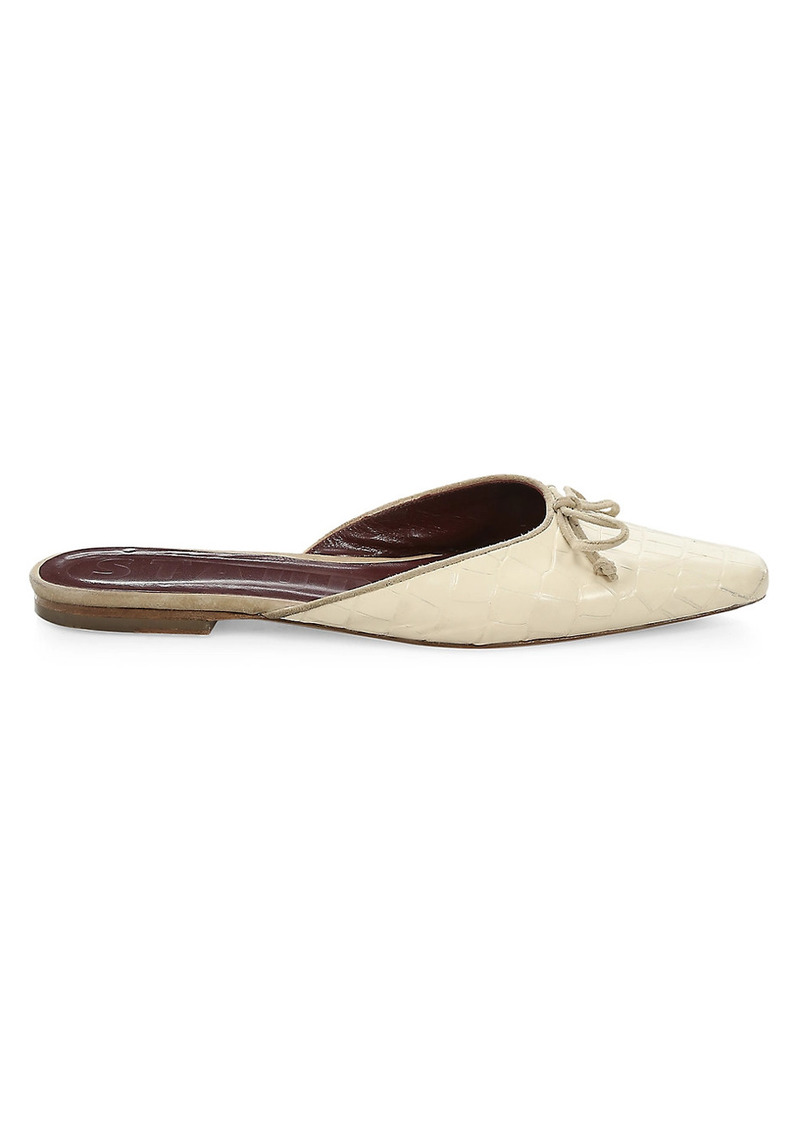 STAUD Gina Square-Toe Croc-Embossed Leather Mules