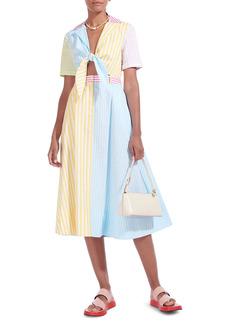 STAUD Giorgiana Striped Midi Dress