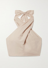 STAUD Kai Cropped Twist-front Cotton-blend Poplin Halterneck Top