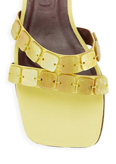 STAUD Kate Mother-of-Pearl-Embellished Leather Mules