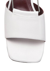 STAUD Leah Chain-Trimmed Leather Mules