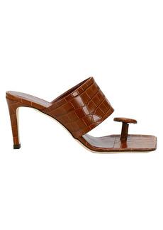 STAUD Luna Croc-Embossed Leather Mules