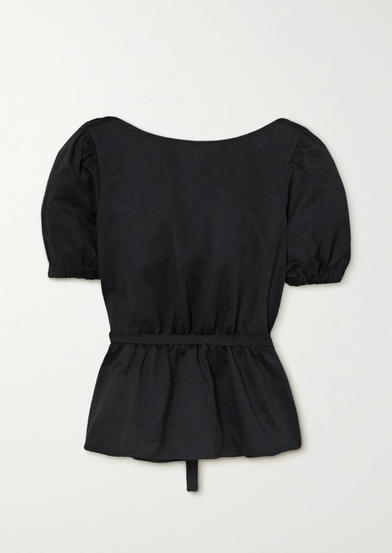 STAUD Marie Open-back Cotton-blend Faille Peplum Top