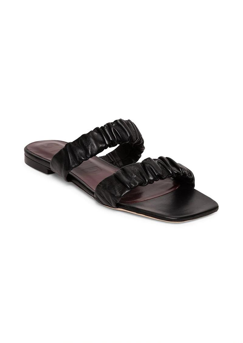 STAUD Maya Ruched Leather Slides