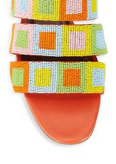 STAUD Mona Beaded Leather Slides