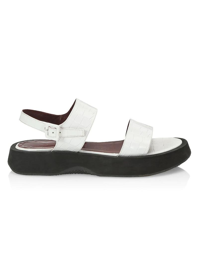 STAUD Nicky Croc-Embossed Leather Platform Slingback Sandals