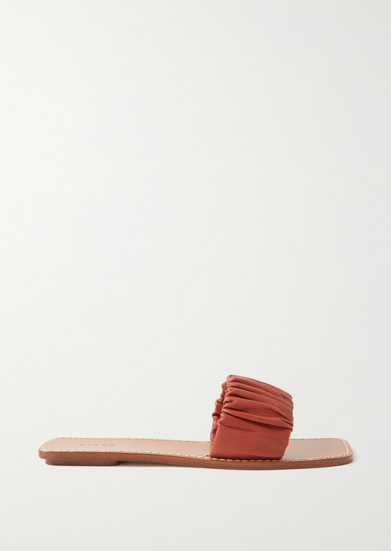 STAUD Nina Ruched Leather Slides
