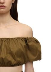 STAUD Off-the-shoulder Nylon Crop Top