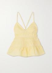 STAUD Olympia Ruffled Tiered Cotton-blend Poplin Top