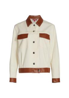 STAUD Pomona Faux Leather-Trim Canvas Jacket