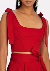 STAUD Rogan Tie-Shoulder Crop Top
