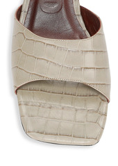 STAUD Simone Croc-Embossed Leather Mules