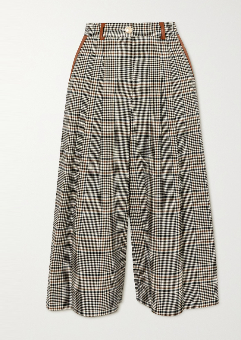 STAUD Spade Faux Leather-trimmed Prince Of Wales Checked Woven Culottes