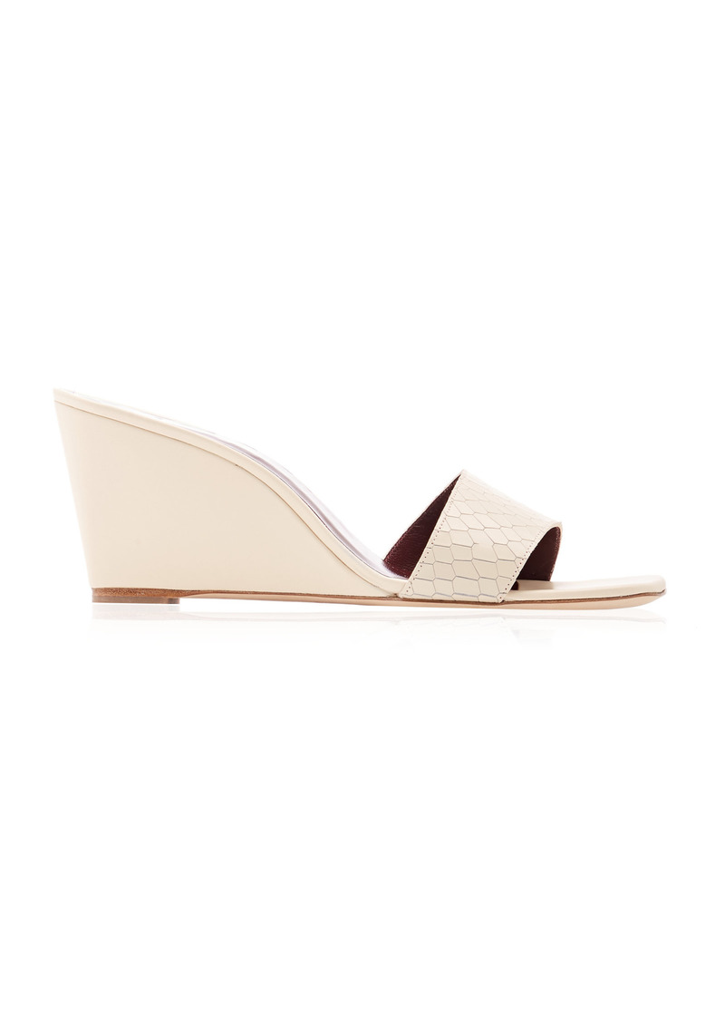 Staud - Women's Billie Leather Wedges - White - Moda Operandi