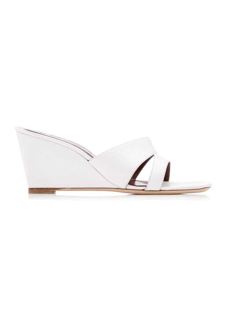 Staud - Women's Bree Leather Wedge Sandals - White - Moda Operandi