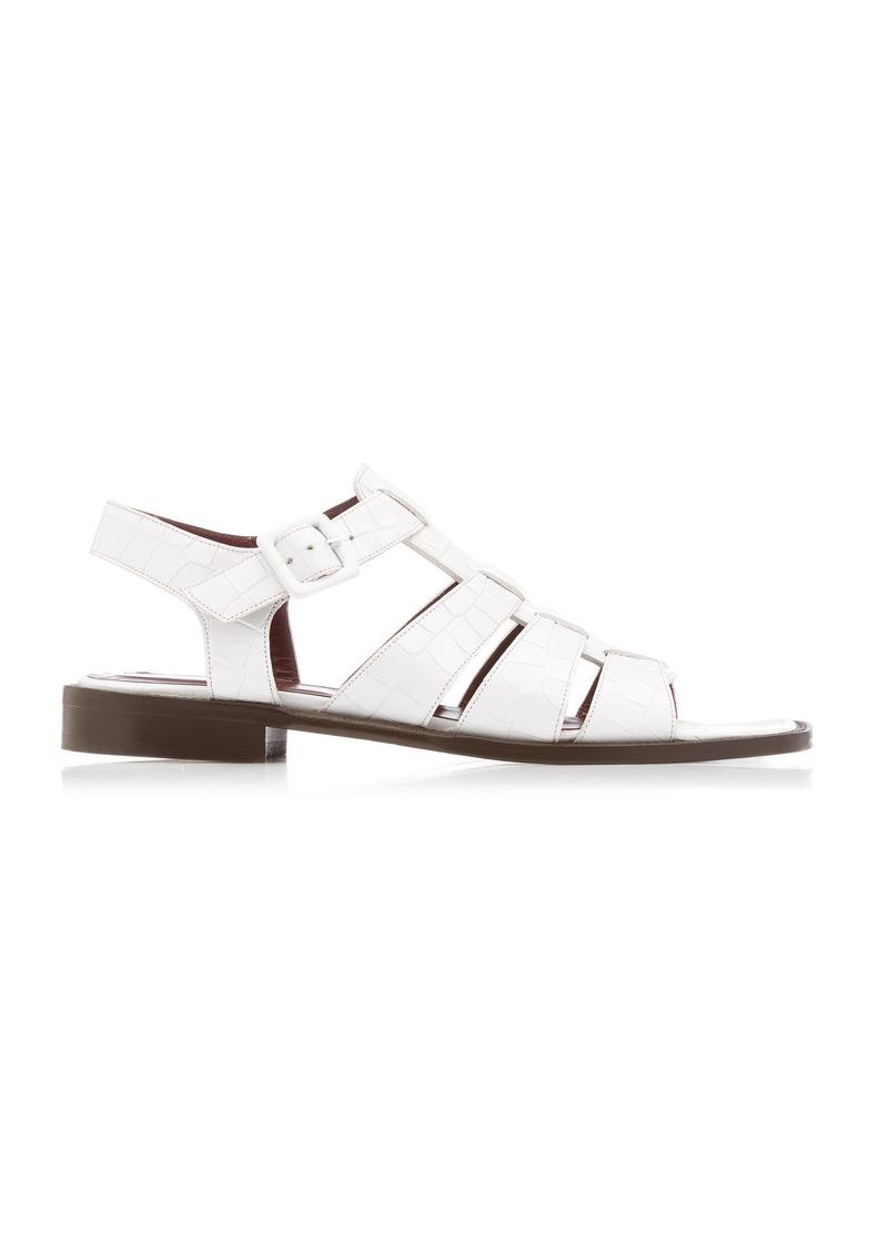 Staud - Women's Elsa Croc-Embossed Leather Sandals - White - Moda Operandi