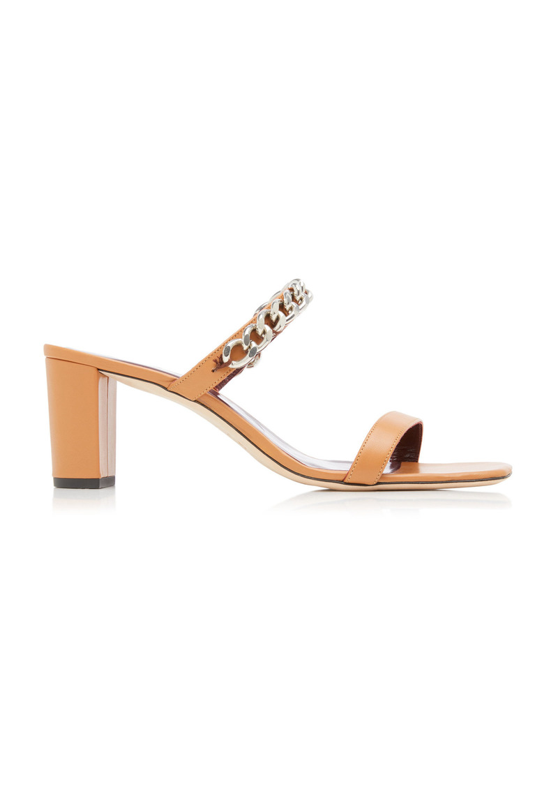 Staud - Women's Frankie Chain-Trimmed Leather Sandals - Brown - Moda Operandi