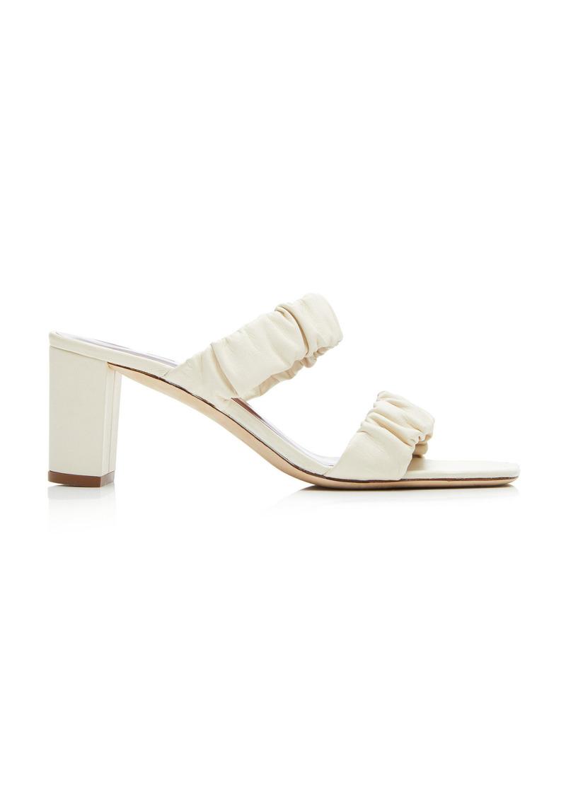 Staud - Women's Frankie Ruched Sandals - White/blue - Moda Operandi