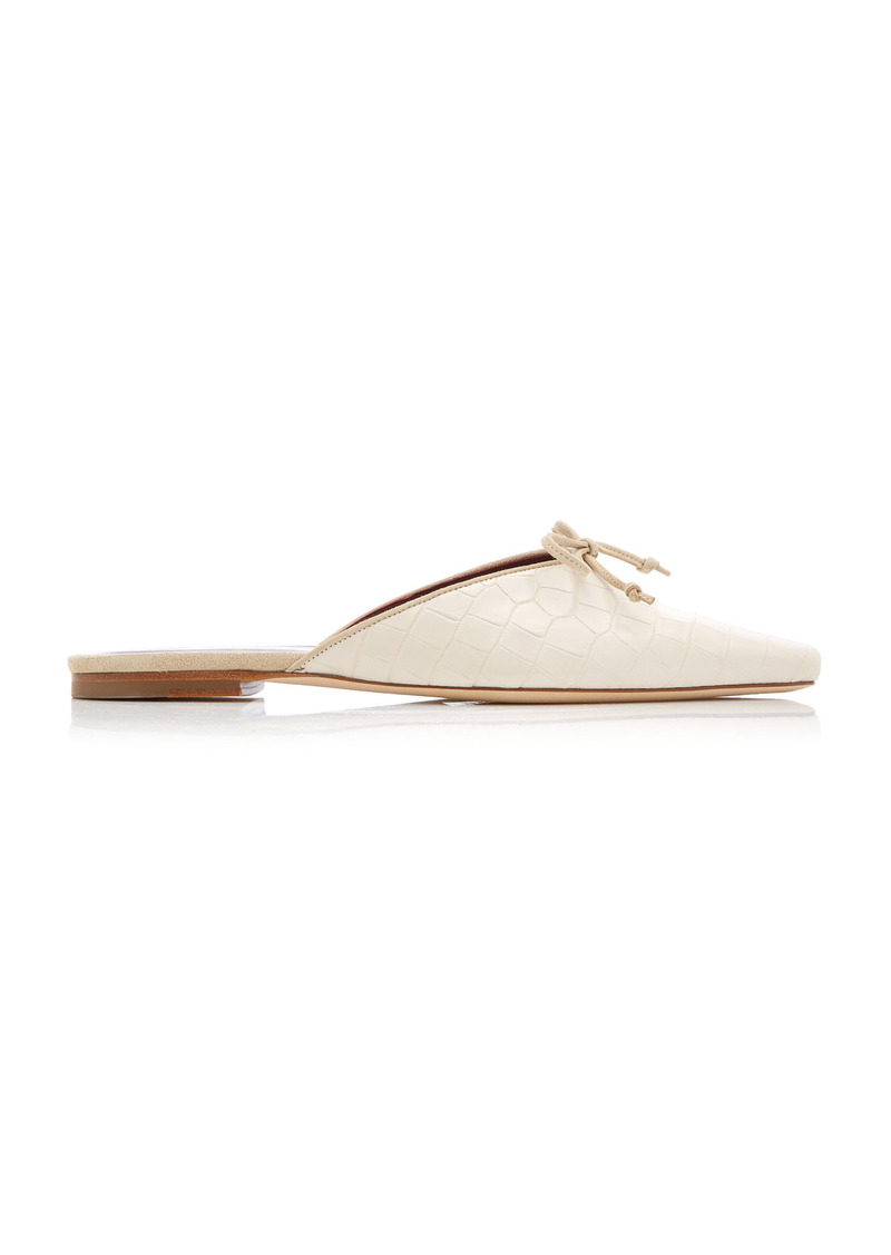 Staud - Women's Gina Croc-Effect Leather Mules - White/brown - Moda Operandi