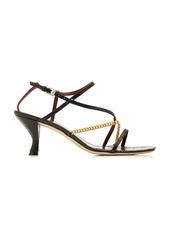 Staud - Women's Gita Chain-Trimmed Croc-Effect Leather Sandals - Black/brown - Moda Operandi