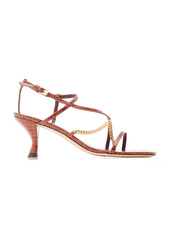 Staud - Women's Gita Chain-Trimmed Croc-Effect Leather Sandals - Black/brown - Moda Operandi