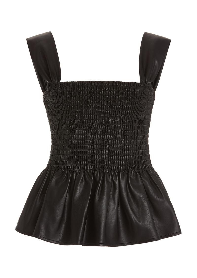 Staud - Women's Ida Vegan Leather Top - Black - Moda Operandi