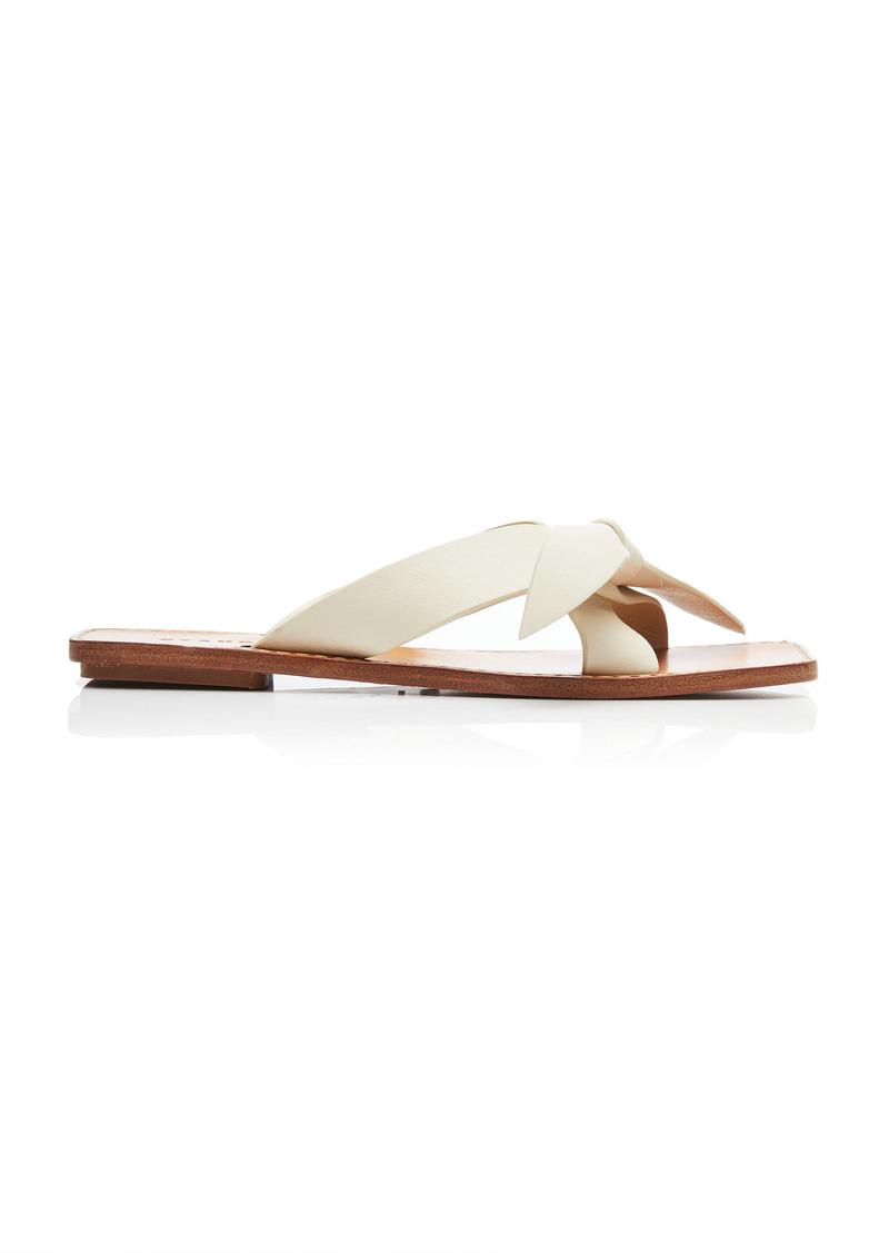 Staud - Women's Lei Leather Sandals - White/red - Moda Operandi