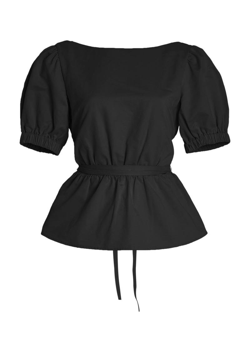 Staud - Women's Marie Cotton Poplin Top - Black - Moda Operandi
