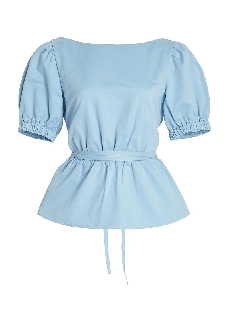 Staud - Women's Marie Cotton Poplin Top - Blue - Moda Operandi