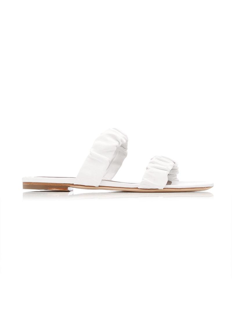 Staud - Women's Maya Ruched Leather Flat Sandals - White/black - Moda Operandi