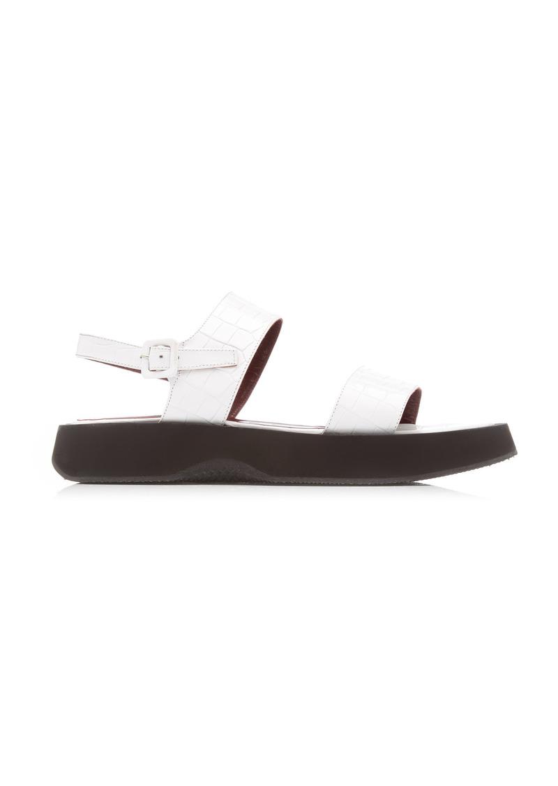 Staud - Women's Nicky Croc-Effect Leather Sandals - White/black - Moda Operandi