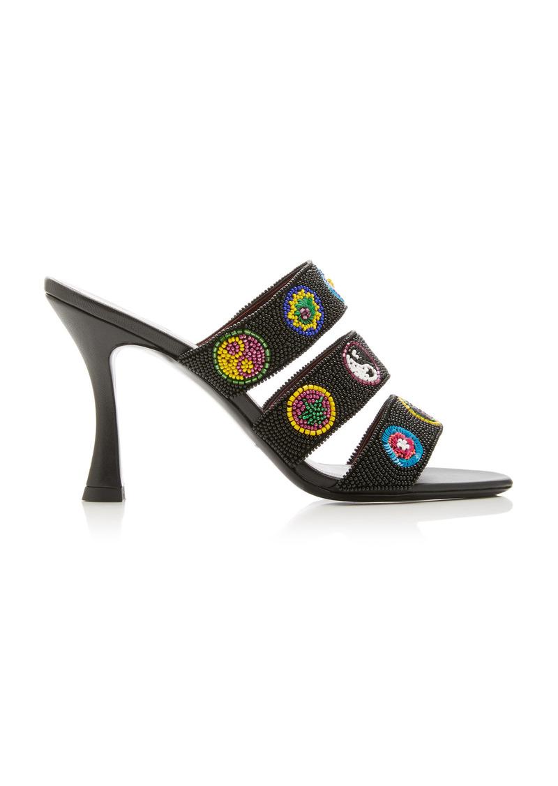 Staud - Women's Sonny Beaded Leather Sandals - Black - Moda Operandi