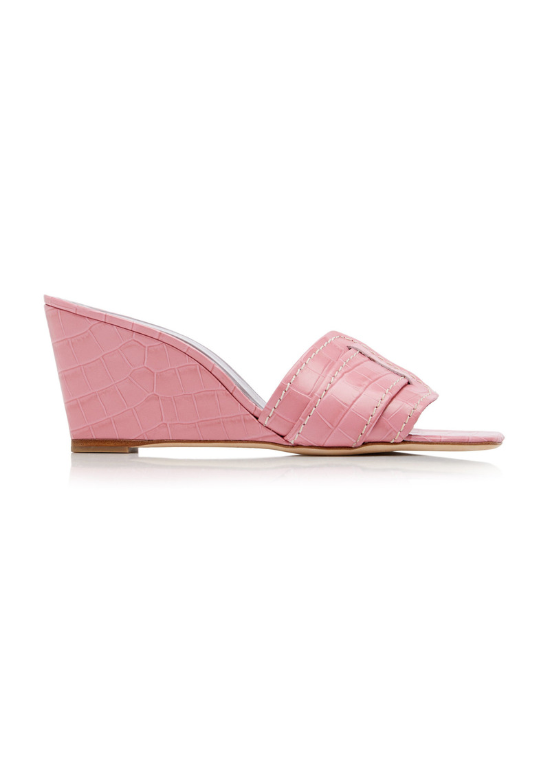 Staud - Women's Sylvie Croc-Effect Leather Wedge Sandals - Pink - Moda Operandi