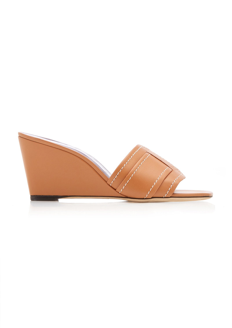 Staud - Women's Sylvie Leather Wedge Sandals - Brown - Moda Operandi