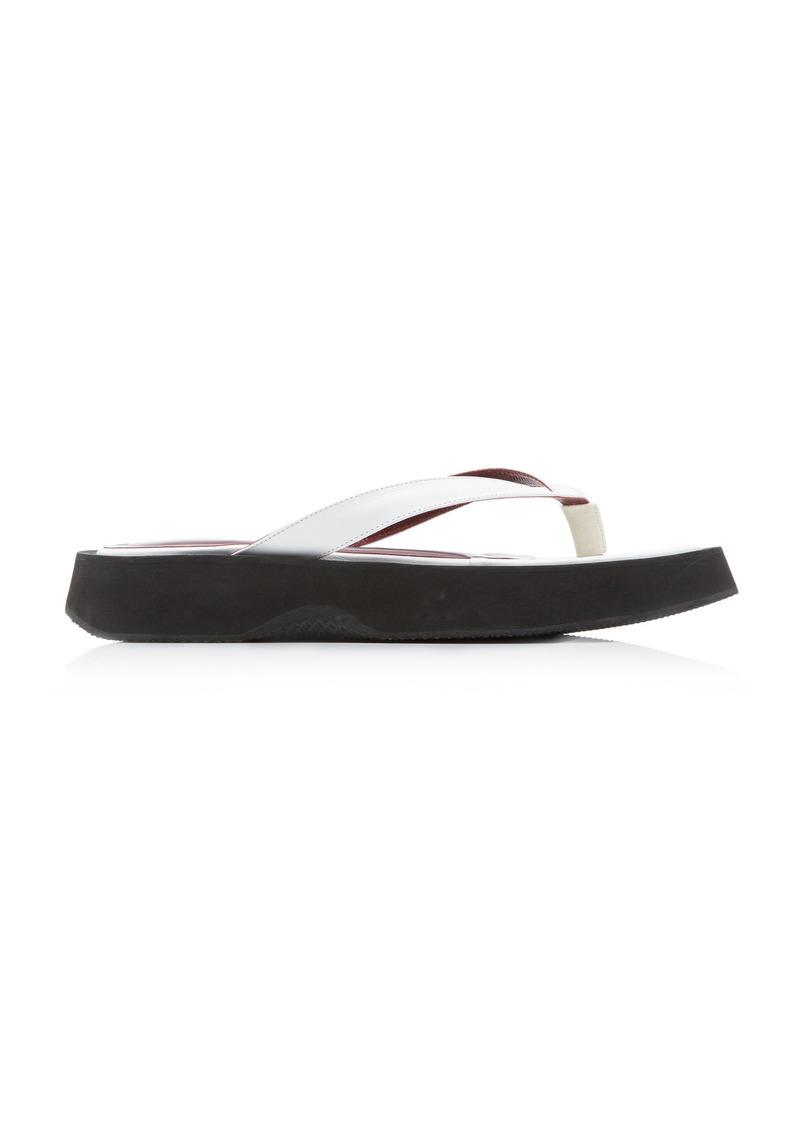 Staud - Women's Tessa Croc-Effect Leather Thong Sandals - Black/white - Moda Operandi