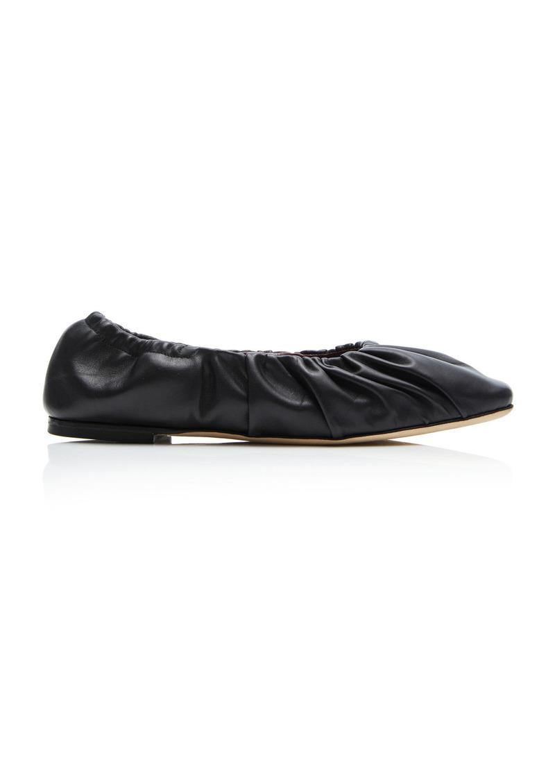 Staud - Women's Tuli Leather Flats - Black/white - Moda Operandi