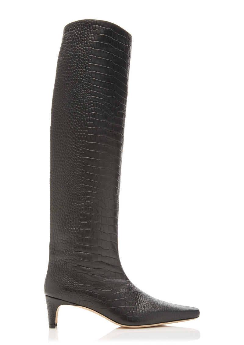 Staud - Women's Wally Croc-Embossed Leather Knee-High Boots - Black - Moda Operandi