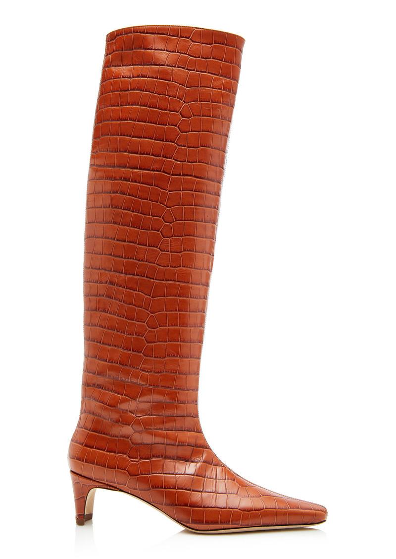 Staud - Women's Wally Embossed Boots - Brown - Moda Operandi